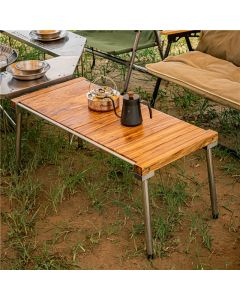 ONWAYSPORTS WHOLESALE WOOD OUTDOOR ROLL UP CAMPING FOLDING TABLE